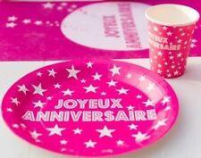 10 Assiettes Carton Jetables ROSE Joyeux Anniversaire décoration table Fête