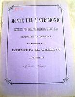1896 DOCUMENTO DEL MONTE DEL MATRIMONIO DI BOLOGNA  LIBRETTO DI CREDITO A BUDRIO