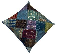 """30"""" BLUE VINTAGE HANDCRAFTED BEADS SEQUIN SARI THROW ACCENT CUSHION PILLOW COVER"""