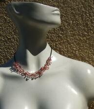 Collier Blumen Rubelith rosa Turmalin Perlen 5-reihig auf Seidenfaden geknotet
