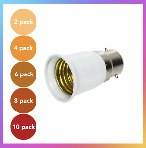Packs B22 to E27 Lamp Light Bulb BAYONET Cap To EDISON Screw Adapter Converter