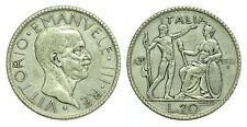 pci0177) Regno Vittorio Emanuele III  lire 20 1928 Littore Patina Monetiere