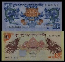 Bhutan 2011 2013 Banknotes Dragon Phoenix 1 5 Ngultrum UNC 2 PCS