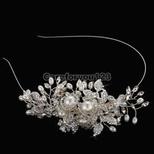 Elegant Wedding Bridal Silver Crystal Rhinestone Pearl Flower Headband Hair Band