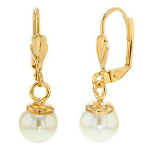 14k Yellow Gold Plated Leverback Dangle White Simulated Pearl Earrings for Women