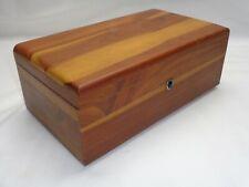 Vtg Wood Dresser Box Trinket Jewelry Watch Money Key Holder Vanity Chest Trunk