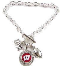 Wisconsin Badgers Multi Charm Love Football Red Silver Bracelet Jewelry Uw