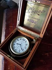 LONGINES Ship's Chronometer, 17J, 3pos. 36 Hr. Wind Ind. Mahogany Case. Ca. 1943