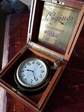 LONGINES Ship's Chronometer, 17J, 3pos. 36 Hr. Wind Ind. Mahogany Case. Ca. 1943