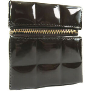 CHANEL A19724Y01184 Chocolate bar Vanity Pouch Brown Patent leather Women