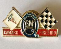 GM Camaro Firebird General Motors Checkered Flag Pin Badge Rare Vintage (G3)