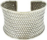925 Sterling Silver Wide Intricate Weave Cuff Bangle, For Ladies and Girls