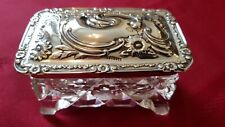 A SUPERB, SOLID SILVER & CUT GLASS TABLE JAR. WALKER & HALL.