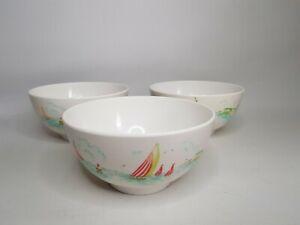 Cath Kidston Sailing Boats Plastic Melamine Bowls - 3 - *Pattern Colour Faded*