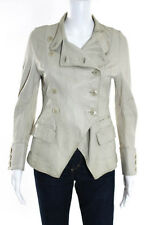 Pauw Beige Leather Long Sleeve Button Front Jacket Size 2