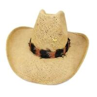 American Hat Company Straw Cowboy Hat Twister Feather Band Size 6 7/8