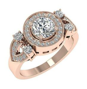Halo Solitaire Ring SI1 G 1.60 Ct Natural Diamond 14K Gold Appraisal 11.30mm