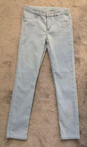 🌸H&M & Denim Girl's Skinny Fit Jeans Pale Blue Age 9-10 140cm🌸