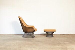 Warren Platner for Knoll Bronze Lounge Chair and Ottoman, USA, 1970s