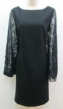 Tahari Belinda Black Lace Bat Wing Sleeves Cocktail Evening Sheath Dress NEW 12