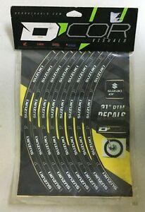 "D'COR 21"" Front Rim Decals Suzuki Logo Yellow Off Road MX Motocross RM 40-80-206"