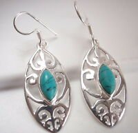 Turquoise Filigree Marquise 925 Sterling Silver Dangle Earrings Corona Sun