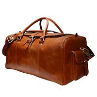 Vintage handmade weekend brown Gym duffel luggage travel Real leather bags
