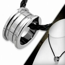 Carbide Tungsten - Mini Ring Charm With Necklace Braided Leather Of PVC Black
