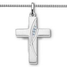 Jungen Zirkonia Kreuz Anhänger zur Taufe Kommunion Firmung mit Kette Silber 925