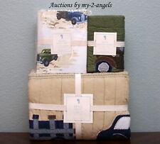 Pottery Barn Kids Bryce Trucks Twin Quilt+Std Sham+Sheet Set Vintage Retro * Nla