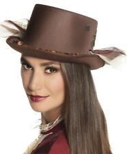 Ladies Brown Steampunk Top Hat Riding Victorian Gothic Fancy Dress Costume New
