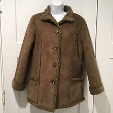 LL Bean XSmall Jacket Coat Womens Faux Suede Sherpa Lined Shearling Brown