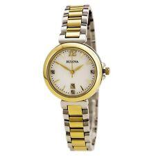 Bulova 98P142 para mujeres Diamante Mop Dial Dos Tonos Oro Reloj De Acero
