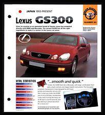 Lexus GS300 (Japan 1993-Present) Spec Sheet 1998 HOT CARS Dream Machines #2.24