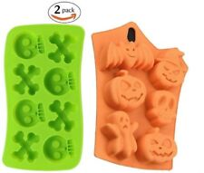 NEW 2 Silicone Halloween Candy / Ice / Cake Molds Party Supplies Pumpkins Skulls