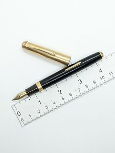 VTG  black gt pilot lever fountain pen - 14k Warranted 3 f nib - for restore