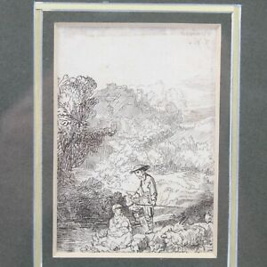 Rembrandt etching 19th century print fisherman wife & baby river scene antique