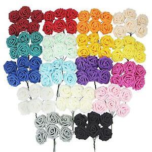 Bunch of 6 LARGE Colourfast Foam Roses! Wedding Craft Bridal Fake Silk Quality