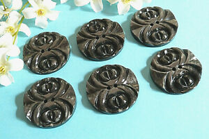 """323C Stunning Buttons Vintage """" Engraving """" Grey Lot Of 6 Buttons ÉP.1950"""