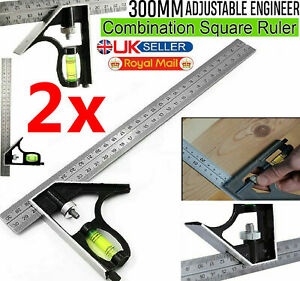 """2x Right Angle Ruler 300mm (12"""") Adjustable Engineers Combination Try Square Set"""