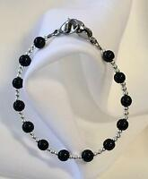 New Black Onyx & Sterling Silver Medical ID Alert Replacement Bracelet! (MA047)
