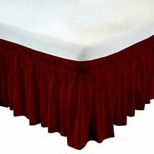 Wrap Around Bed Skirt Three Fabric Sides PolyCotton Soft All Size Burgundy