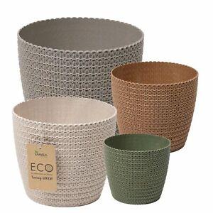 Übertopf Hildegard Eco aus Holzkunststoff Blumentopf in Häkeloptik