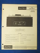 Altec 1594B Owner Operating Schematic Parts List Manual Original The Real Thing