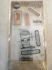 Sizzix Tim Holtz Die Embossing Folder & Clear Stamp Set Coffee Time NEW