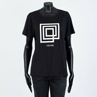 CELINE 540$ Classic Black Women's Crewneck T-Shirt In Labyrinth Printed Jersey
