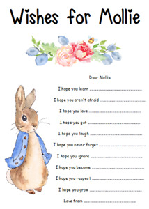 PERSONALISED 1ST BIRTHDAY PARTY GAME WISHES FOR BABY BLUE PINK PETER RABBIT