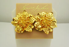 """Kenneth Jay Lane  Ornate Flower Clip-On Earrings """"Couture Collection"""" USA"""