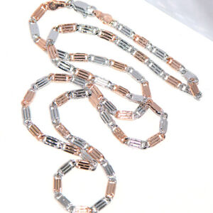 20 Inches Long Mens Womens 2-Tone Flat Link Chain Necklace Cool Jewelry