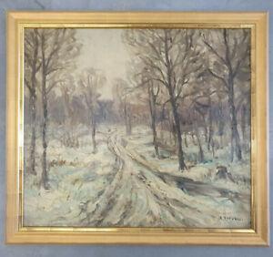 Gemälde Öl Winterlandschaft Rudolf Petuel (1870-1937) München Impressionismus